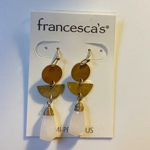 FRANCESCA'S GOLD & PINK MARBLE EARRINGS